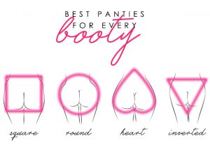 Cosabella is going to break down how to identify: Your booty type The best panties for your booty type  Your butt shape is determined by a combination of hip structure, where your cheeks are fullest, and where your bum is the widest.